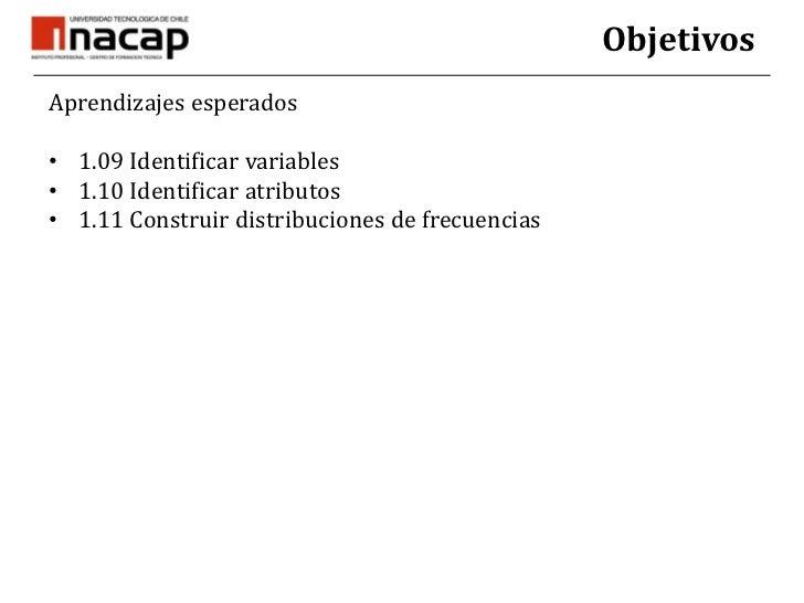 Objetivos<br />Aprendizajes esperados<br />1.09 Identificar variables<br />1.10 Identificar atributos<br />1.11 Construir ...