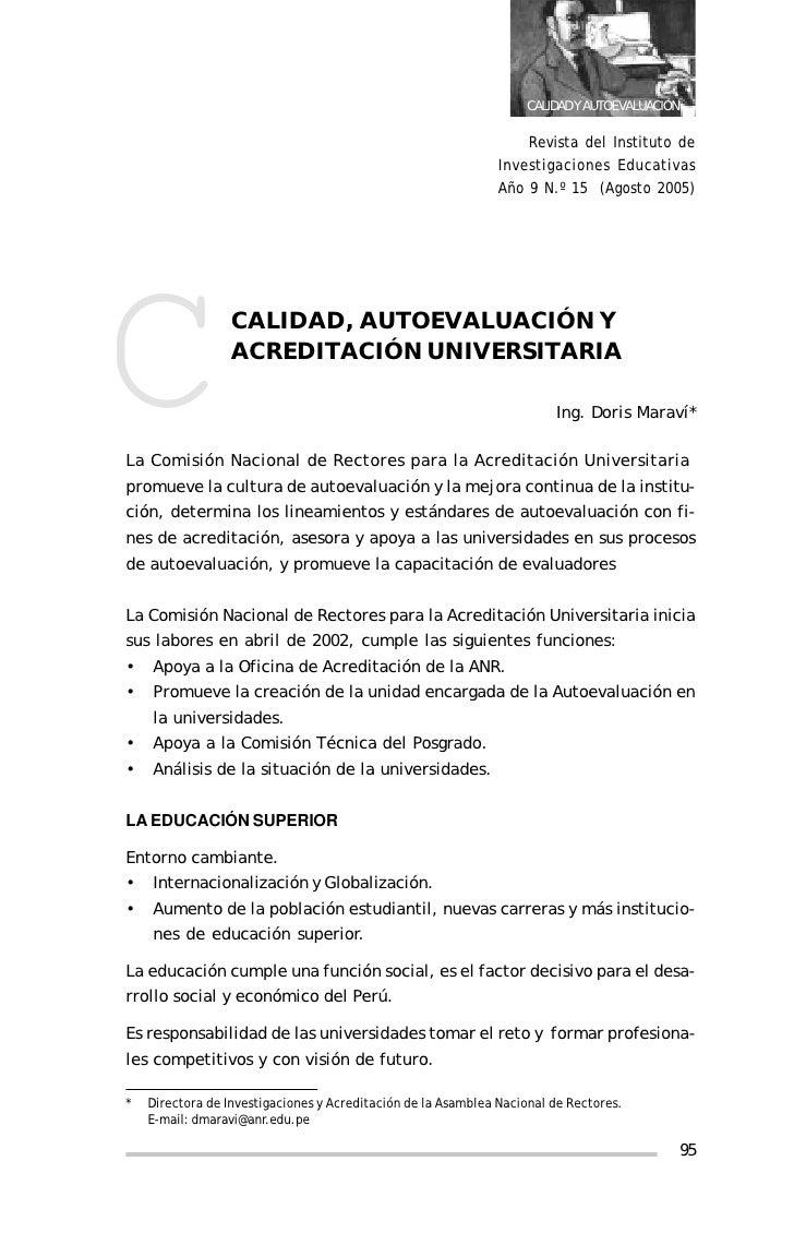 CALIDAD, AUTOEVALUACIÓN Y ACREDITACIÓN UNIVERSITARIA                                                                   CAL...