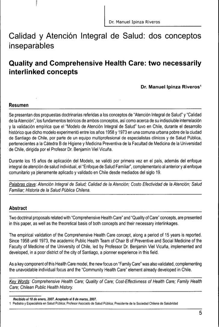 Dr. Manuel Ipinza RiverasCalidad y Atencion Integral de Salud: dos conceptosinseparablesQuality and Comprehensive Health C...