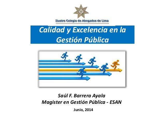 Saúl F. Barrera Ayala Magister en Gestión Pública - ESAN Junio, 2014 Calidad y Excelencia en la Gestión Pública