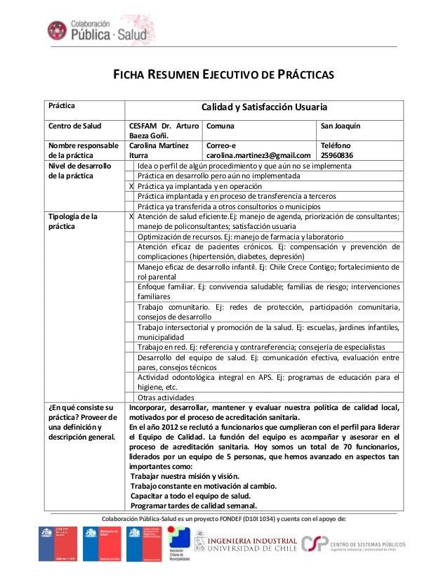 Colaboración Pública-Salud es un proyecto FONDEF (D10I 1034) y cuenta con el apoyo de: FICHA RESUMEN EJECUTIVO DE PRÁCTICA...