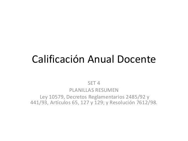Calificación Anual Docente SET 4 PLANILLAS RESUMEN Ley 10579, Decretos Reglamentarios 2485/92 y 441/93, Artículos 65, 127 ...
