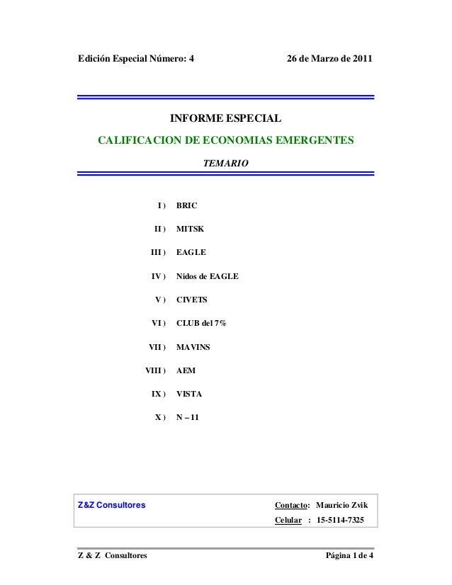 Edición Especial Número: 4                       26 de Marzo de 2011                            INFORME ESPECIAL    CALIFI...