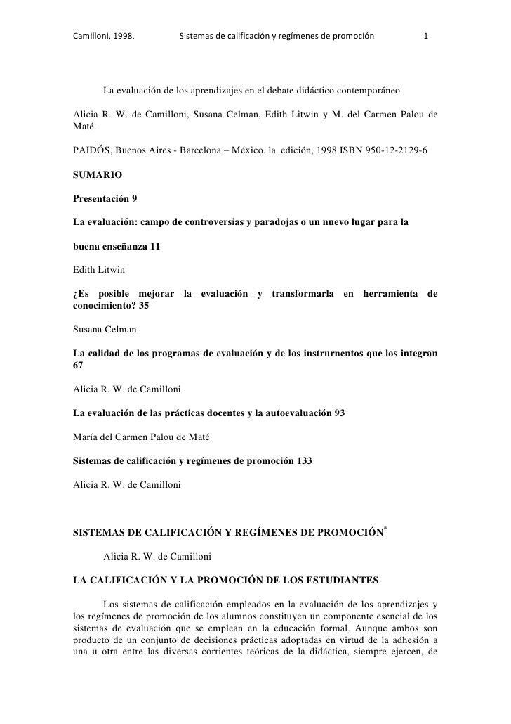 Camilloni, 1998.         Sistemas de calificación y regímenes de promoción        1       La evaluación de los aprendizaje...