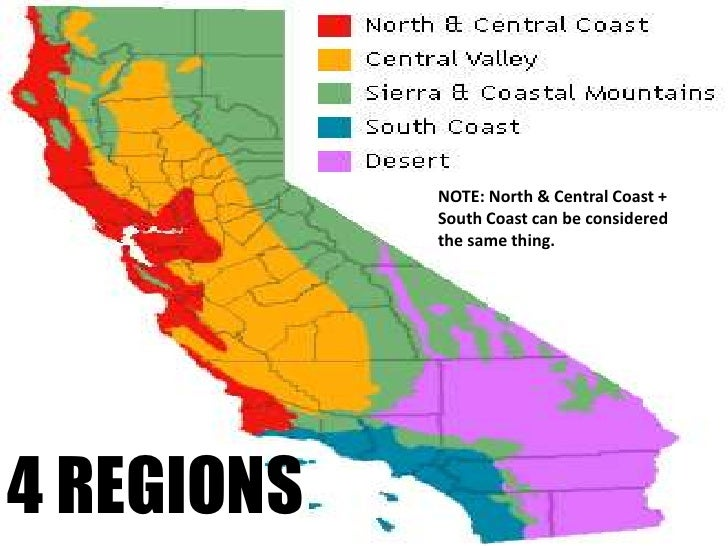 NOTE: North & Central Coast + South Coast can be considered the same thing.<br />4 REGIONS<br />