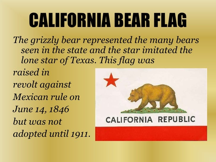 CALIFORNIA BEAR FLAG<br />The grizzly bear represented the many bears seen in the state and the star imitated the lone sta...