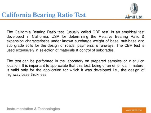 California bearing ratio aimil for Soil investigation report