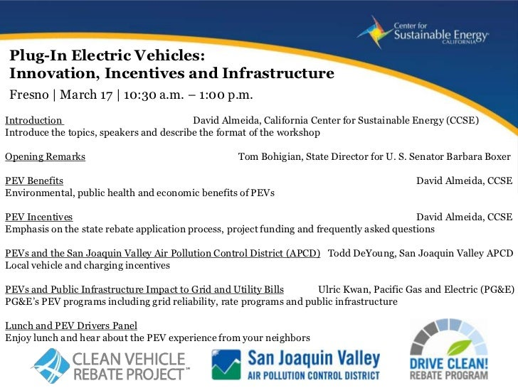 Plug-In Electric Vehicles:Innovation, Incentives and InfrastructureFresno | March 17 | 10:30 a.m. – 1:00 p.m.Introduction ...
