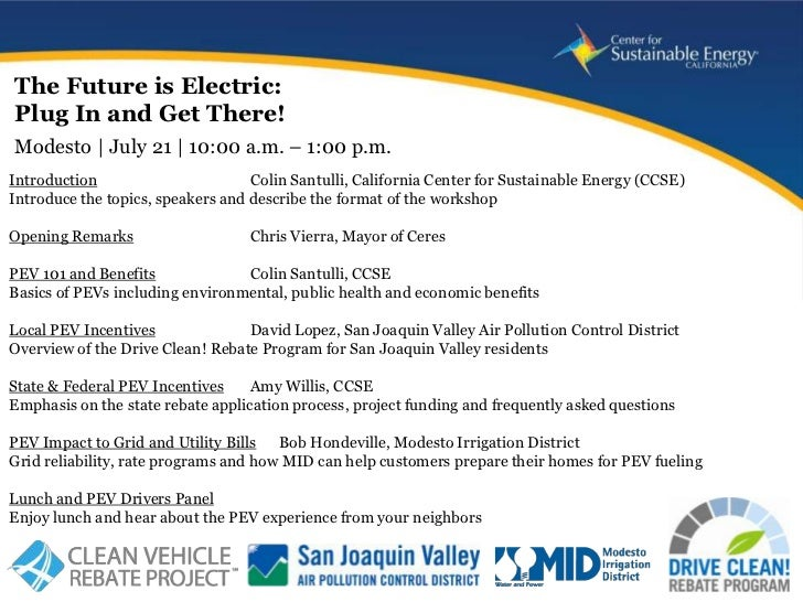 The Future is Electric:Plug In and Get There!Modesto | July 21 | 10:00 a.m. – 1:00 p.m.Introduction                       ...