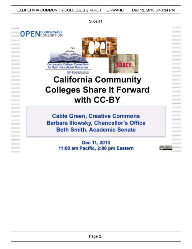 CALIFORNIA COMMUNITY COLLEGES SHARE IT FORWARD Slide #1  Page 2.  Dec 13, 2013 6:40:34 PM