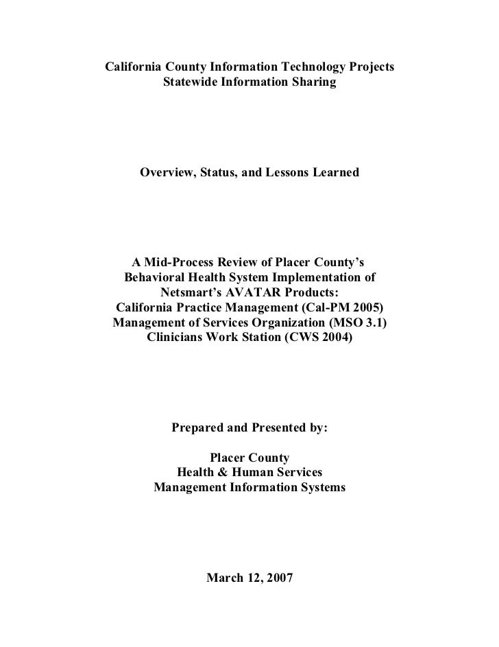 California County Information Technology Projects            Statewide Information Sharing          Overview, Status, and ...
