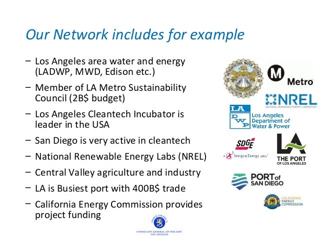 Our Network includes for example – Los Angeles area water and energy (LADWP, MWD, Edison etc.) – Member of LA Metro Sustai...