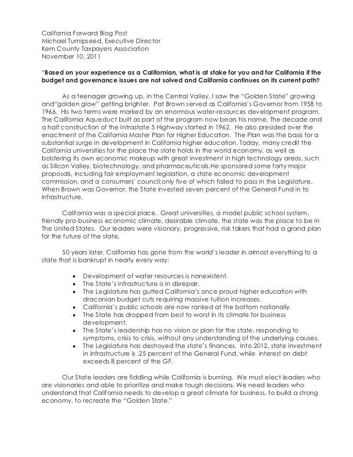 "California Forward Blog PostMichael Turnipseed, Executive DirectorKern County Taxpayers AssociationNovember 10, 2011""Based..."