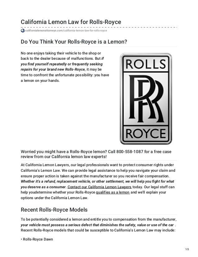 Lemon Law California >> California Lemon Law For Rolls Royce