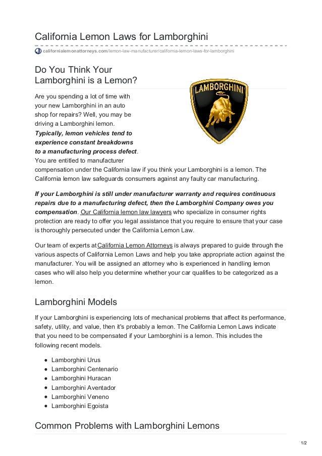 Lemon Law California >> California Lemon Laws For Lamborghini