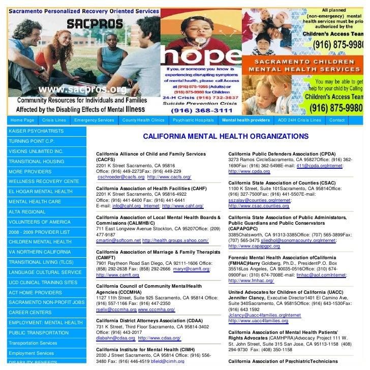 California Mental Health Organizations