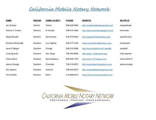 California Mobile Notary Network NAME REGION HOME COUNTY PHONE WEBSITE SKYPE ID Jan Kohake Central Tulare 559-625-9363 htt...