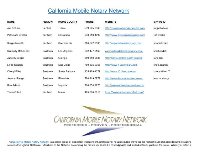 California Mobile Notary Network NAME REGION HOME COUNTY PHONE WEBSITE SKYPE ID Jan Kohake Central Tulare 559-625-9363 htt...