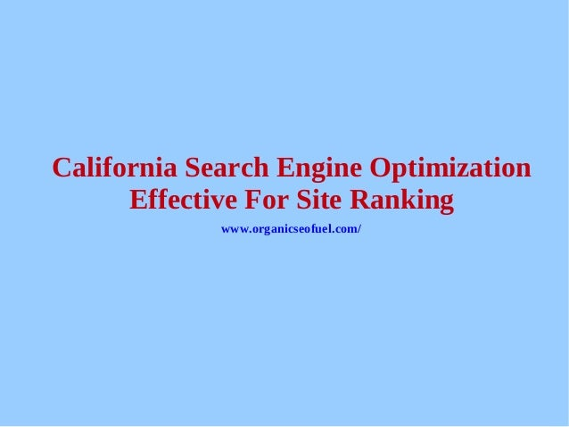 California search engine optimization - effective for site ranking slideshare - 웹