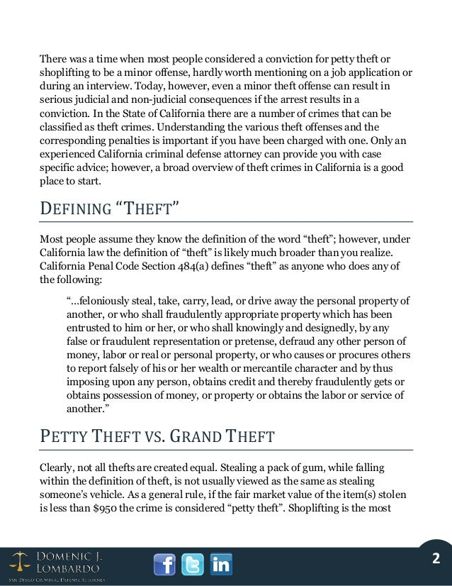 California Theft Crimes: Understanding the Offenses and Penalties Slide 2