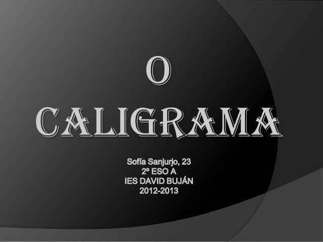 OCALIGRAMA    Sofía Sanjurjo, 23        2º ESO A   IES DAVID BUJÁN       2012-2013