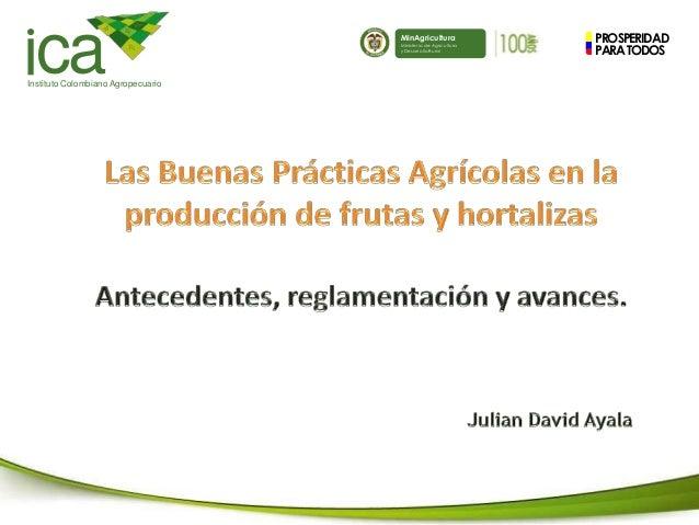 PROSPERIDAD PARATODOS caInstituto Colombiano Agropecuario MinAgricultura Ministerio de Agricultura y Desarrollo Rural