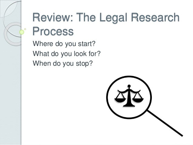 Review: The Legal Research Process Where do you start? What do you look for? When do you stop?