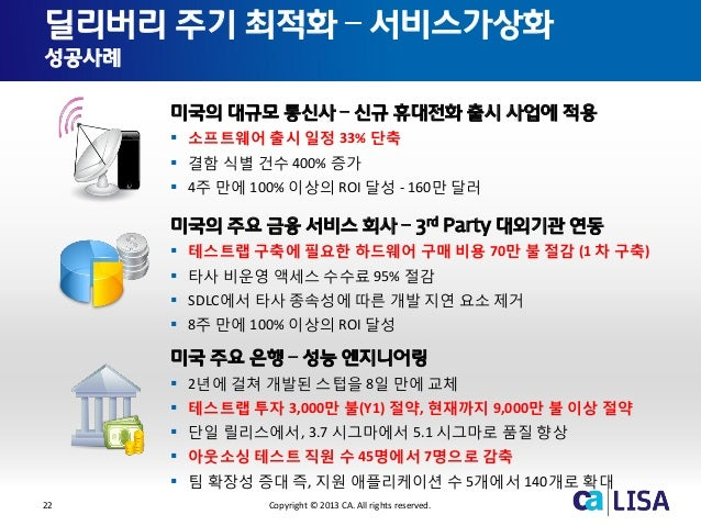 22 Copyright © 2013 CA. All rights reserved. 미국의 대규모 통신사 – 신규 휴대전화 출시 사업에 적용  소프트웨어 출시 일정 33% 단축  결함 식별 건수 400% 증가  4주 ...