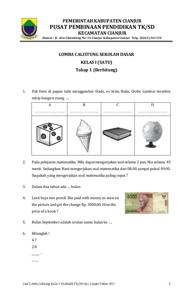 Soal Calistung Sd Kls 3 Calistung Kelas Soal Dan Jawaban