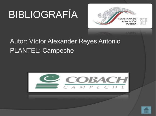 BIBLIOGRAFÍA Autor: Víctor Alexander Reyes Antonio PLANTEL: Campeche