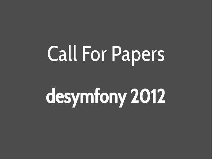 Call For Papersdesymfony 2012
