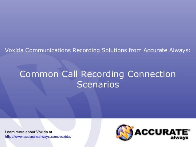Common Call Recording Connection Scenarios Voxida Communications Recording Solutions from Accurate Always: Learn more abou...