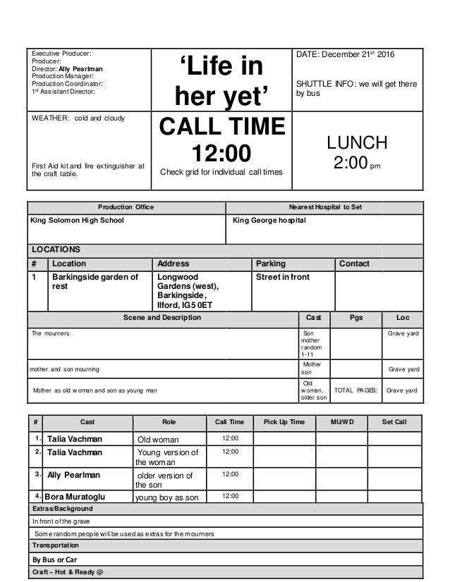 Call sheettemplate 2