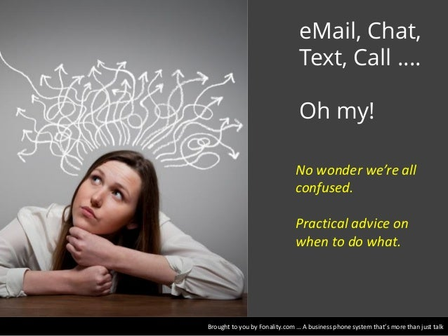 eMail, Chat, Text, Call …. Oh my! No wonder we're all confused. Practical advice on when to do what.  Brought to you by Fo...