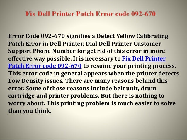 Fix Dell Printer Patch Error code 092-670 | Call +1-800-610-6962