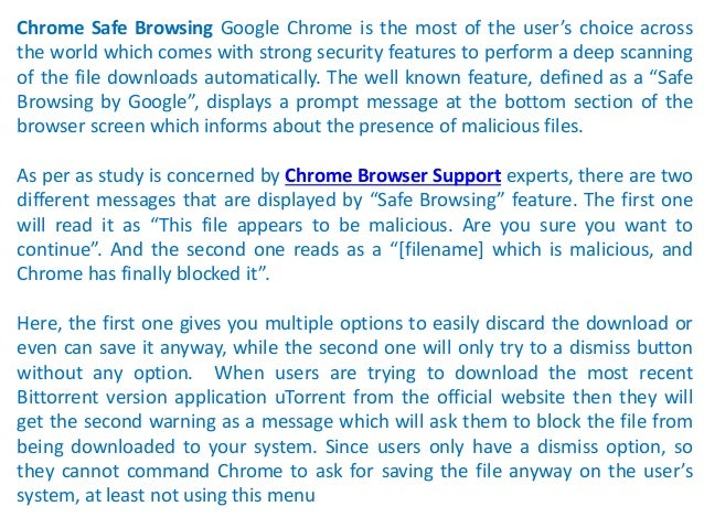 Call 18002402551 to Fix Chrome Safe Browsing feature blocking some downloads in the browser Slide 2