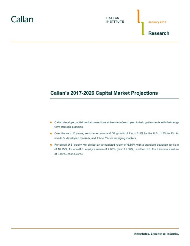 Knowledge. Experience. Integrity. CALLAN INSTITUTE Research January 2017 Callan's 2017-2026 Capital Market Projections 	 C...