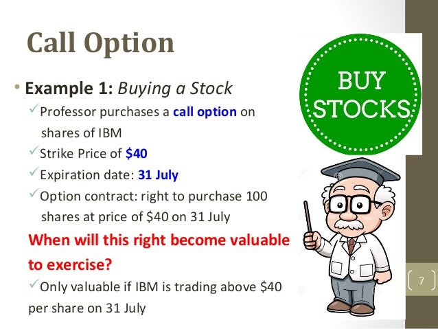 Stock options strike price example