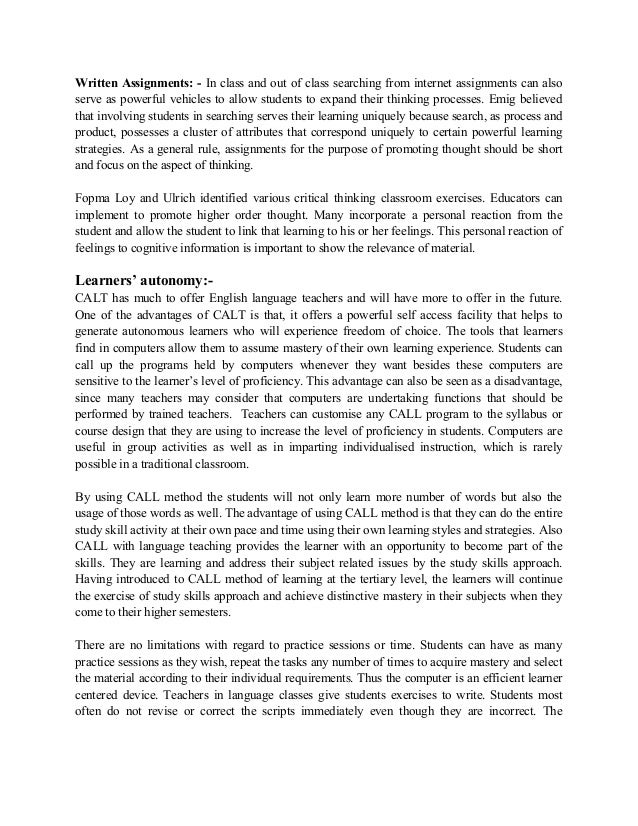 computer assisted language learning thesis This thesis is brought to you for free and open access by the school  does the  use of a computer assisted language learning program with.