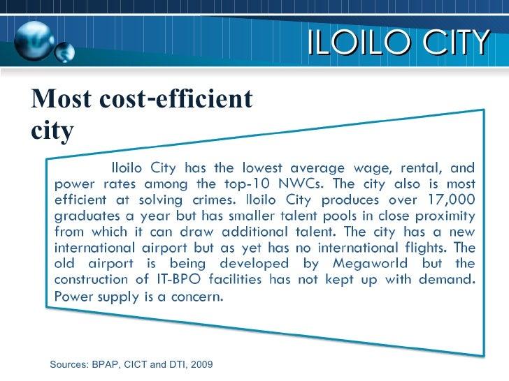 Most cost-efficient city ILOILO CITY Sources: BPAP, CICT and DTI, 2009
