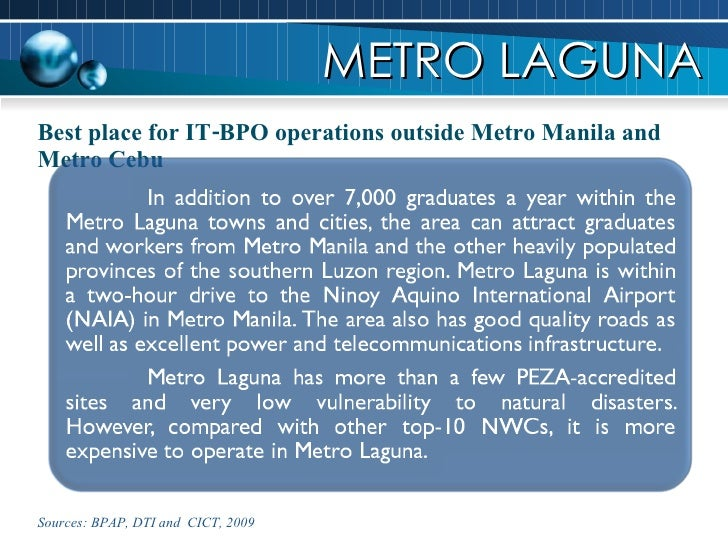 Best place for IT-BPO operations outside Metro Manila and Metro Cebu METRO LAGUNA Sources: BPAP, DTI and  CICT, 2009