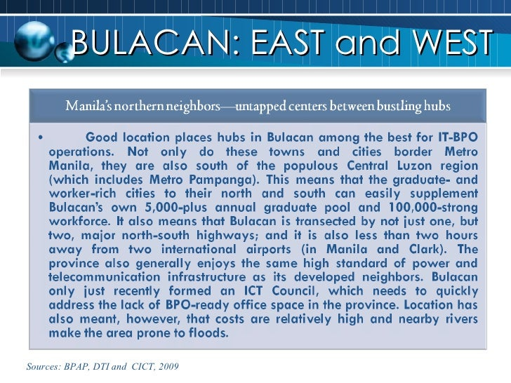 BULACAN: EAST and WEST Sources: BPAP, DTI and  CICT, 2009