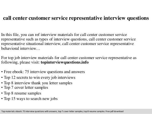 Call center customer service representative interview questions