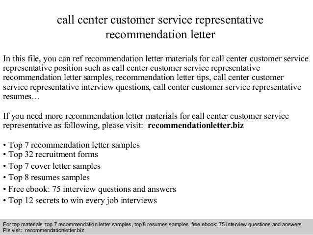Call Center Customer Service Representative Recommendation