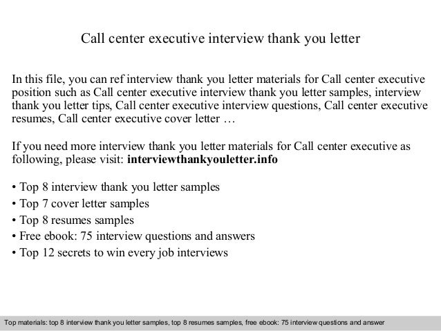 Call Center Executive Interview Thank You Letter In This File, You Can Ref  Interview Thank ...