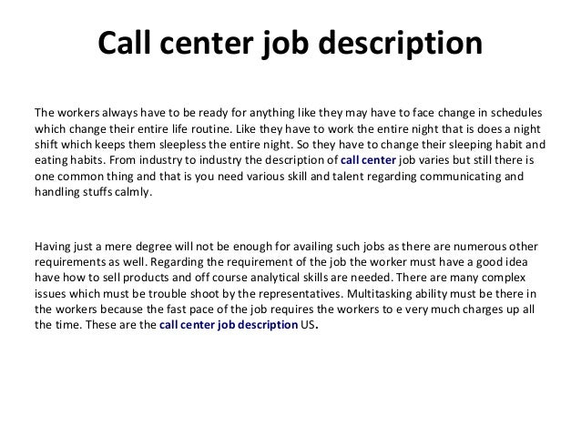 call center job description. Black Bedroom Furniture Sets. Home Design Ideas
