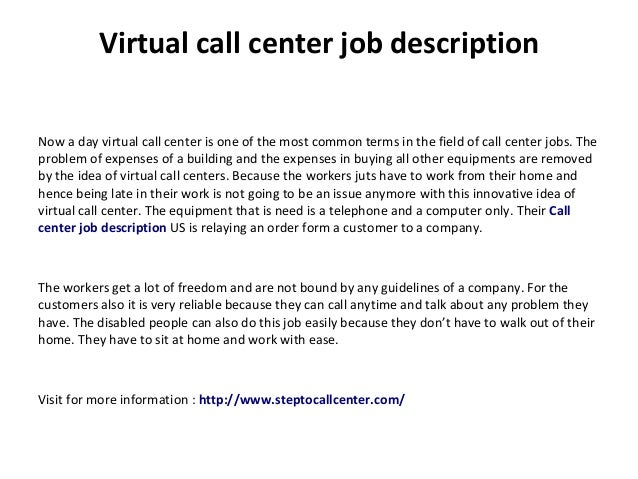 Customer call center job description