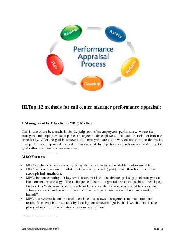 Call Center Manager Performance Appraisal