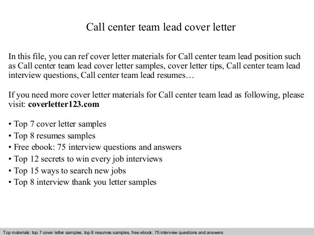 Call center team lead cover letter for Cover letter for a team leader position