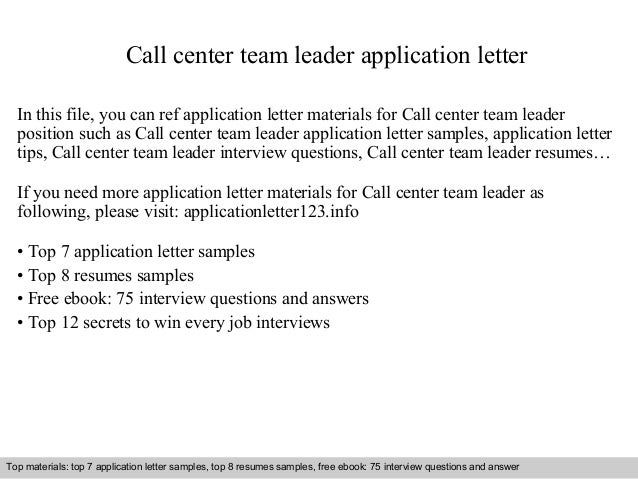 call center team leader application letter in this file you can ref application letter materials application letter sample - Sample Resume For Leadership Position